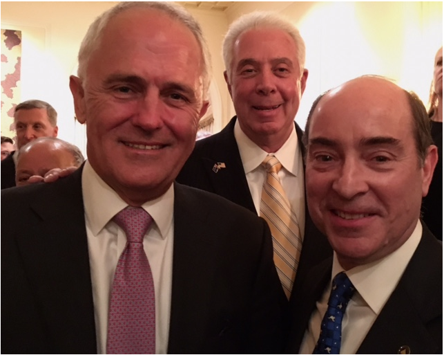 Prime Minister Malcolm Turnbull with AAC board officers Marty Russo and Matthew Freedman