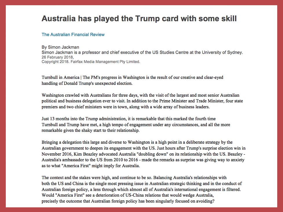 United States-Australia Relations